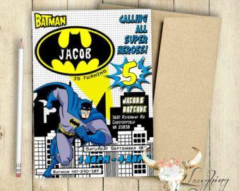 Batman Invitation Birthday Party Comic Book Customized