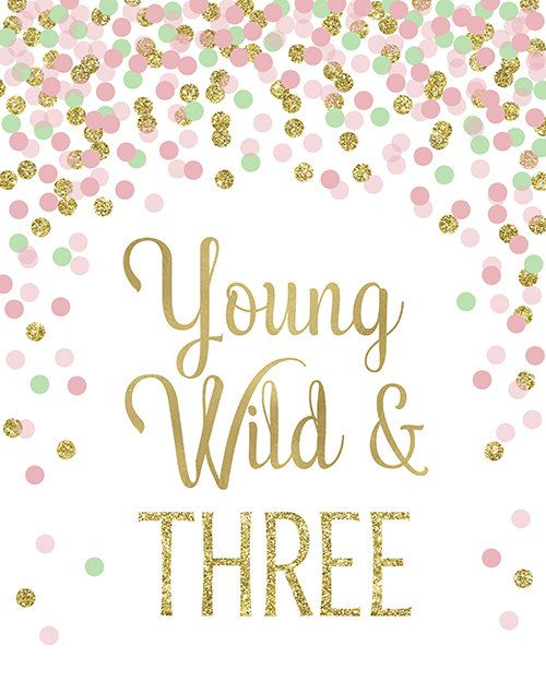 0707498a8ffb Young Wild And Three Print Third Birthday Party Decor 3rd Birthday ...