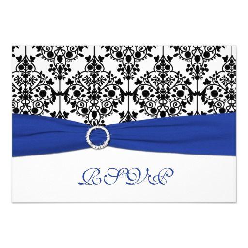 Royal Blue White Black Damask Reply Card Winter Wedding InvitationsDamask