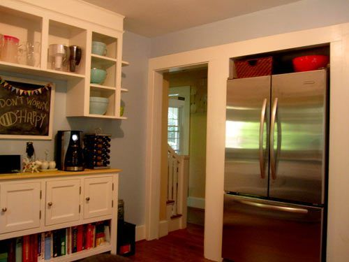 Renovation convert closet to recessed refrigerator nook for added – Kitchen Square Footage