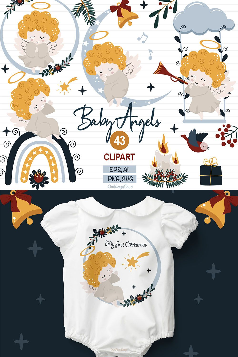Baby Angel Svg : angel, Angel, Clipart, Christmas, Clipart,