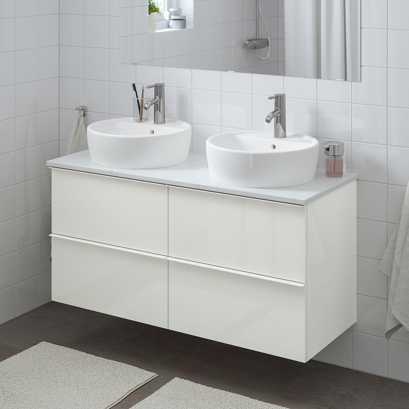 Ikea Godmorgon Tolken Tornviken High Gloss White Marble Effect