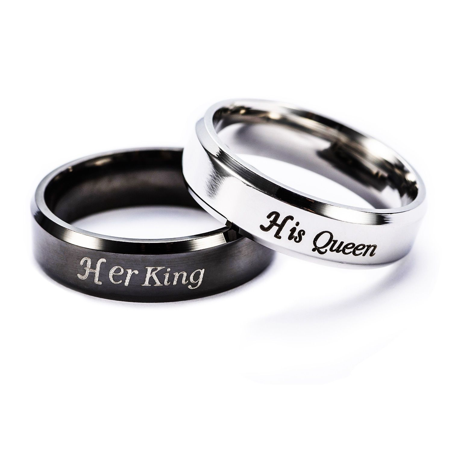 Jewelry & Accessories New Fashion Romance Titanium Steel Couple Ring Beauty Beast Anniversary Engagement Valentines Day Accessories Gift