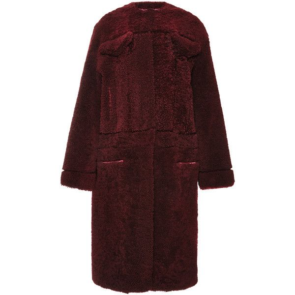 Rochas Burgundy Shearling Coat ($6,085) ❤ liked on Polyvore featuring outerwear, coats, shearling coat, long sleeve coat, burgundy coat, rochas and red coat