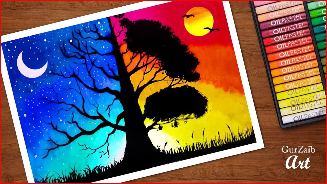 Day And Night Scenery Drawing With Oil Pastels Day And Night