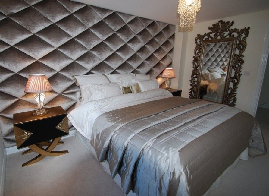 Luxury Diamond Shaped Velvet Wall Panel Upholstered Walls Upholstered Wall Panels Feature Wall Bedroom