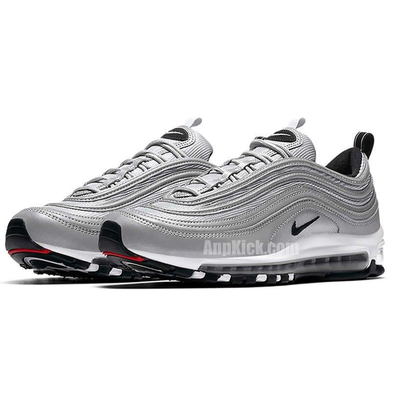Air Max 97 Premium Reflective Silver Black Bullet Shoes 312834 007
