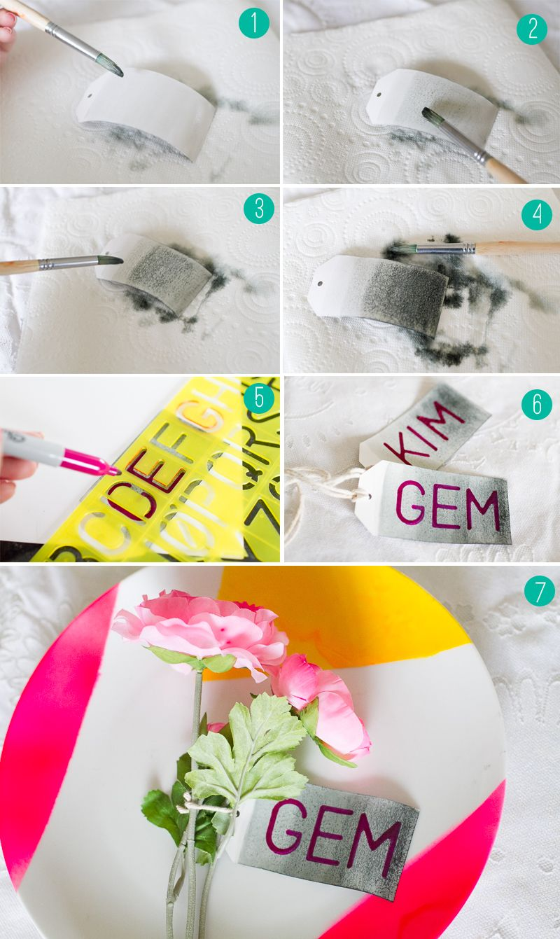 Ombre Ink Name Tags Wedding Diy Placement Escort Cards Collage
