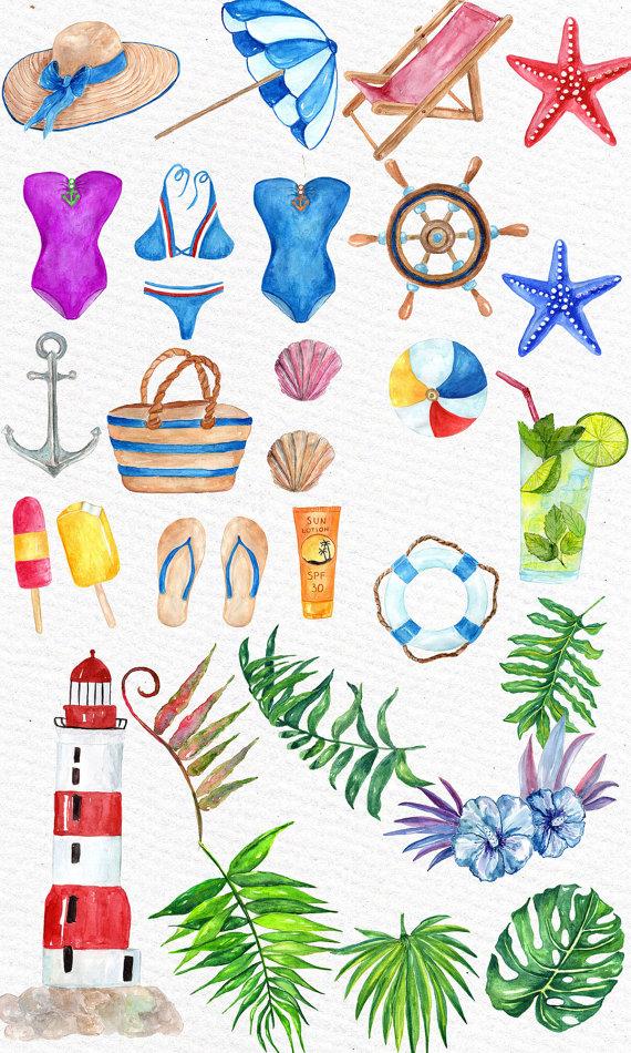 Beach watercolor. Summer clipart nautical seaside