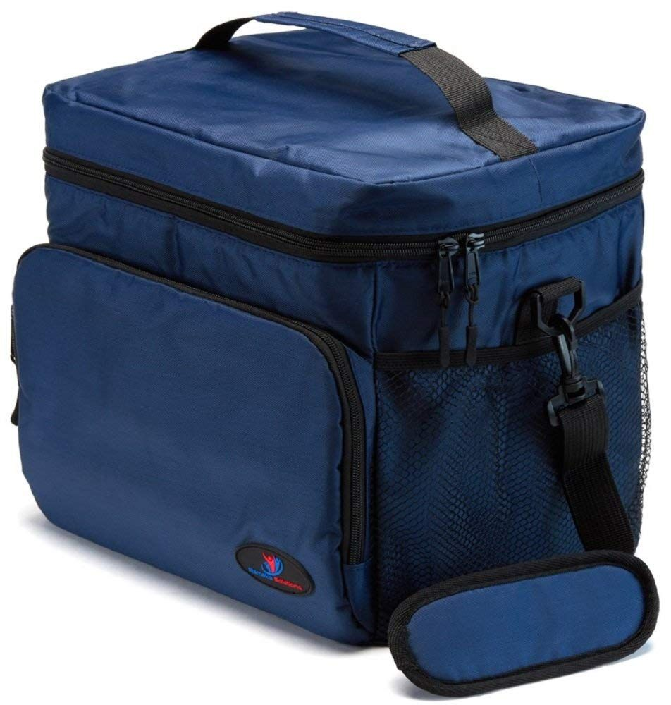 Insulated Lunch Box for Men | Lunch Cooler Bag | Lunch Boxes for Adults | Large Lunch Bag | Mens Lunch Box by Ramaka Solutions | Non-Toxic Stain Resistant Nylon | 11.6 x 9.1 x 10.6 Inches Navy Blue images