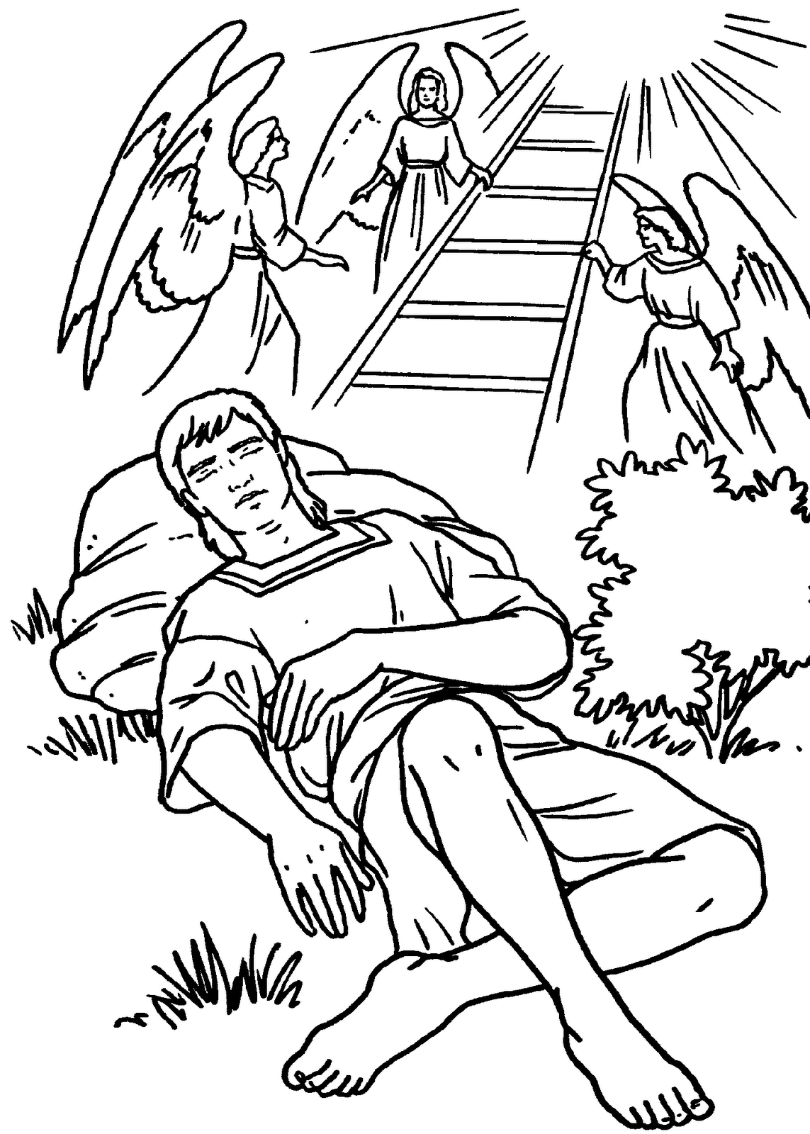 Jacob and the stairway to heaven Bible coloring page | Historias ...