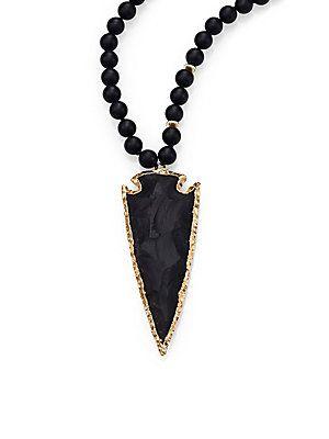 Nest Black Onyx Arrowhead Beaded Pendant Necklace