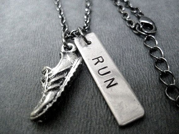RUN RUNNER RUN Necklace - Running Necklace on Gunmetal chain - Running Jewelry - Run Necklace - Runner Necklace - Pewter Running Shoe Charm