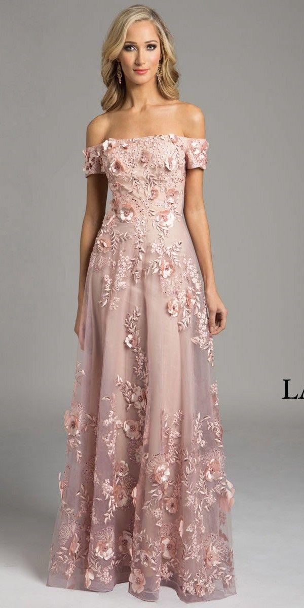 Floor Length Off the Shoulder Pink Dress - Lara Design - 33211 ...