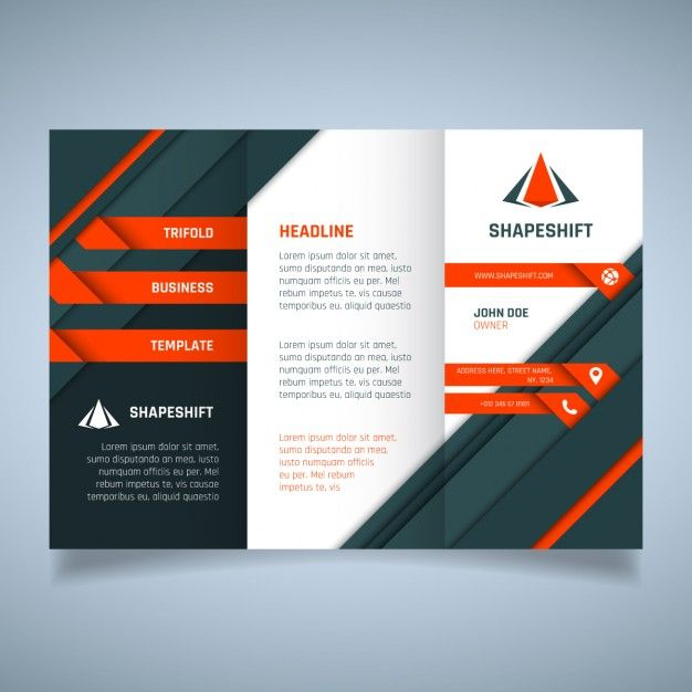 Orange And Black Geometric Business Brochure Template Free Vector