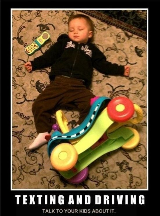 funny baby on floor toy car toy phone texing and drivng talk to your kids about it