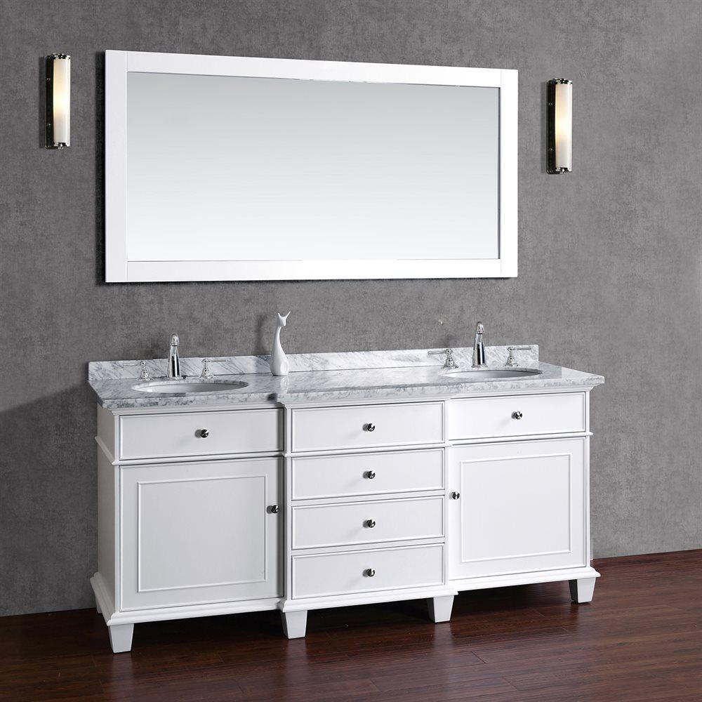 Adana 60 Inch White Double Sink Bathroom Vanity Set Dengan Gambar