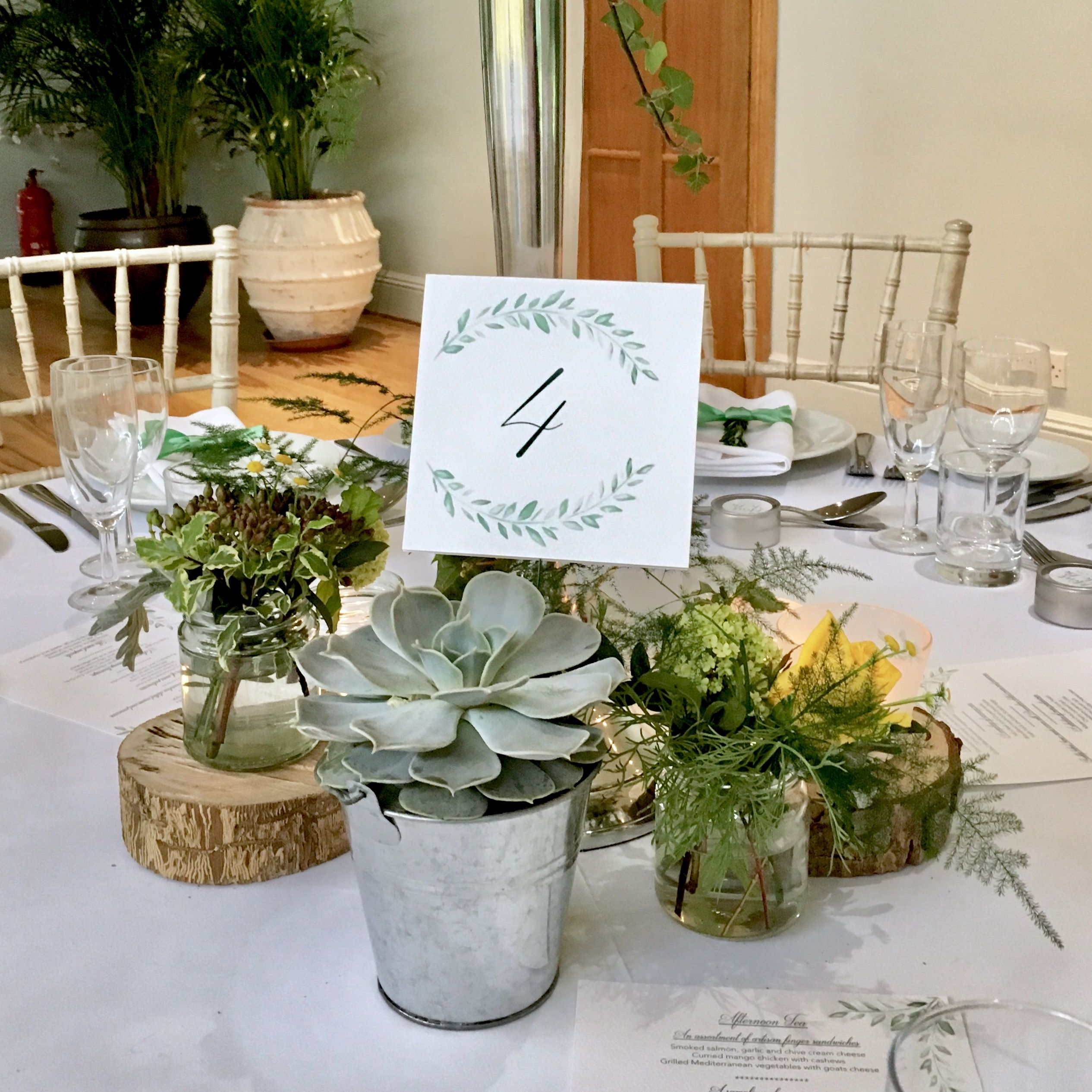 Succulent Table Number Holders Wedding Table Decor