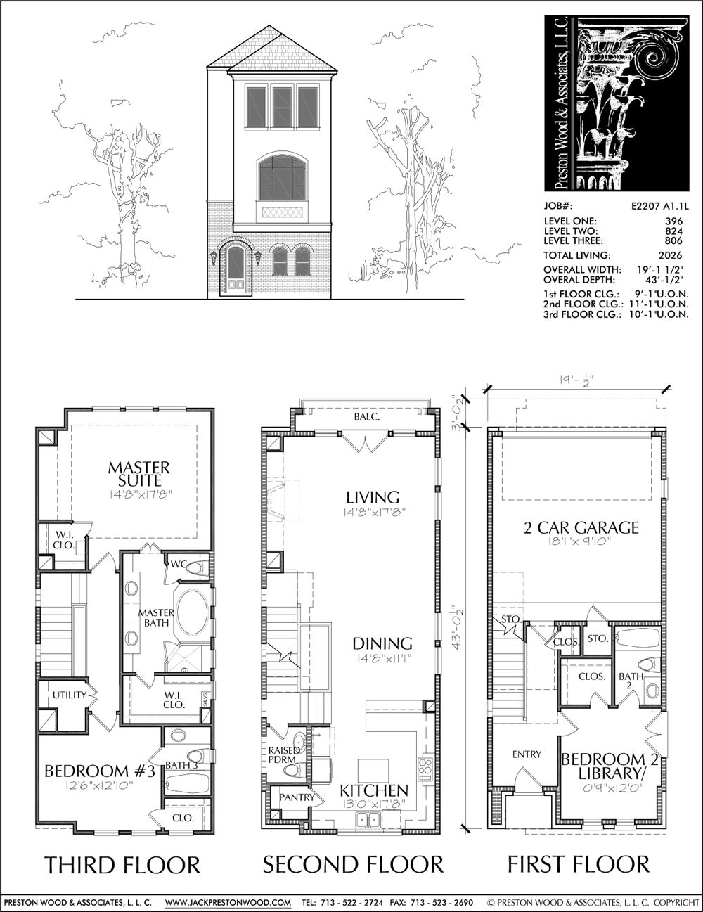 Three Story Townhouse Plan E2207 A1 1 Narrow House Designs Narrow Lot House Plans Brownstone Homes