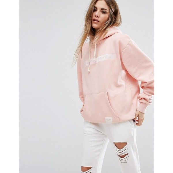 Criminal Damage Oversized Hoodie With Tonal Logo (£68) ❤ liked on Polyvore featuring tops, hoodies, pink, pink top, criminal damage, hoodie top, logo hoodie and logo hoodies
