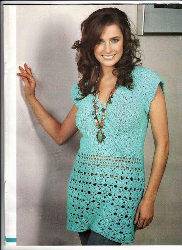 Blusa Tunica tejida a Crochet - Patron / Instrucciones | Crochet ...