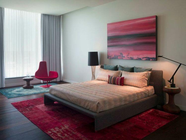 kreative Wandgestaltung Schlafzimmer Ideen Wandgemälde rot Pinterest