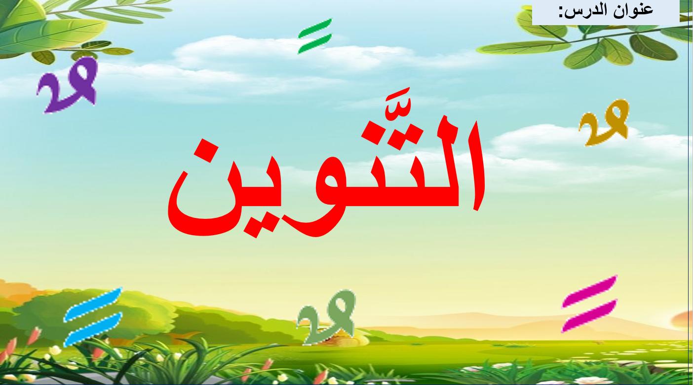 التنوين درس المهارات اللغوية الصف الثاني مادة اللغة العربية بوربوينت Arabic Language Language Arabic Calligraphy