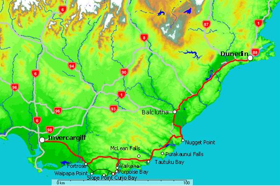 Map of Catlins Coast from Invercargill to Dunedin New Zealand