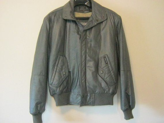 b6eda2192 Members Only Gray Leather Bomber Jacket, Sherpa Lined Coat, Men's ...