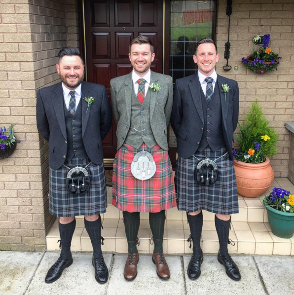 Grant Podmore Is Pictured Here In The Middle On His Wedding Day Grant Is Wearing The Muted Macpherson Tartan Kilt With Our D Kilt Jackets Kilt Japanese Dress