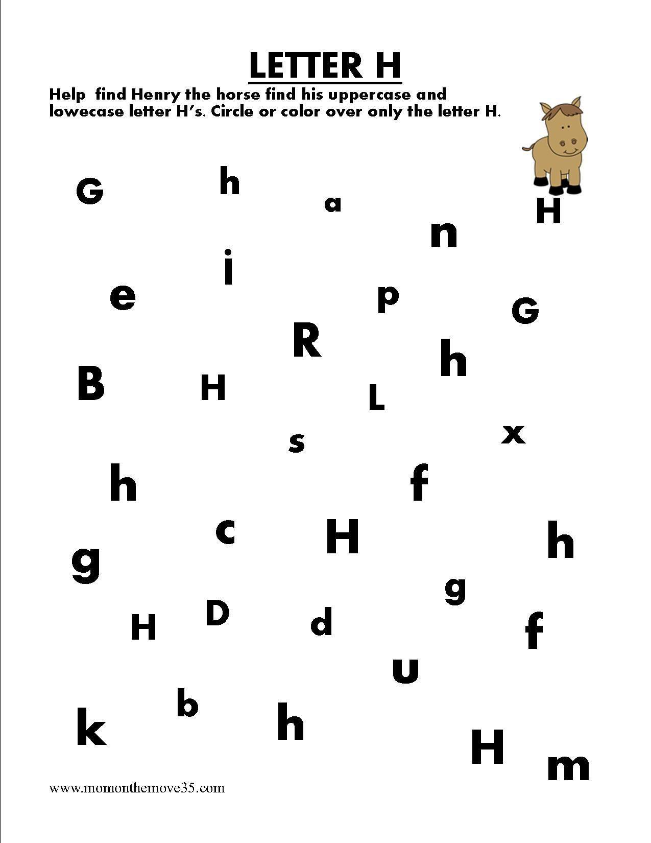 Image Result For Letter Search Worksheet H