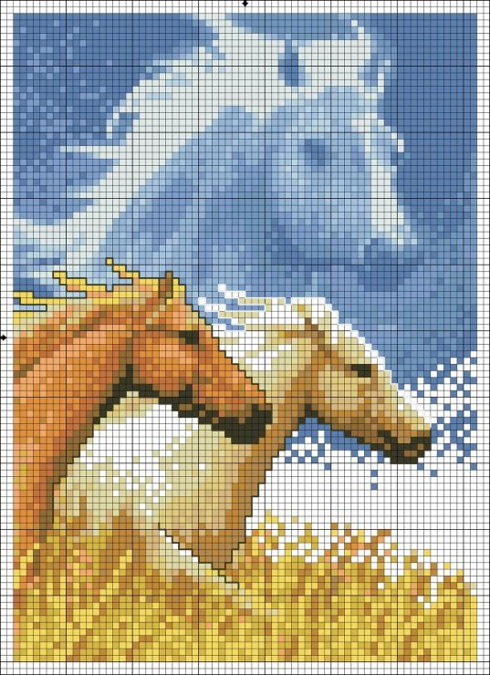 Sticken Pferde - cross stitch horses - free pattern Gallery.ru / Фото #2 - ANIMALS - KIM-2.  /Beautiful EL./
