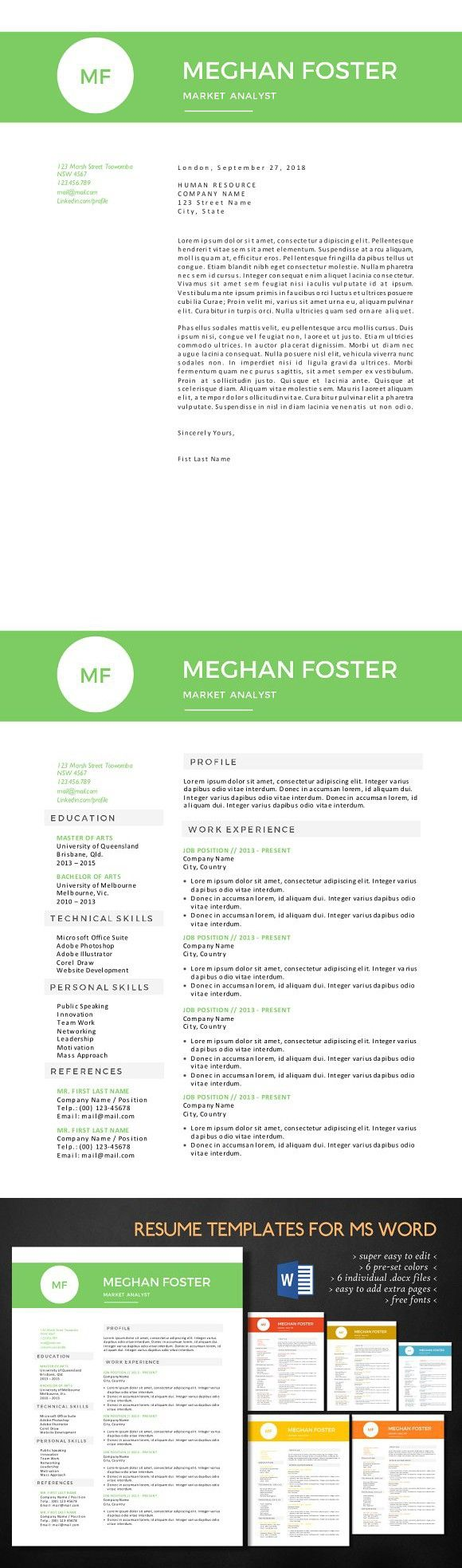 Clean 2 in 1 docx resume resumedesignformsword
