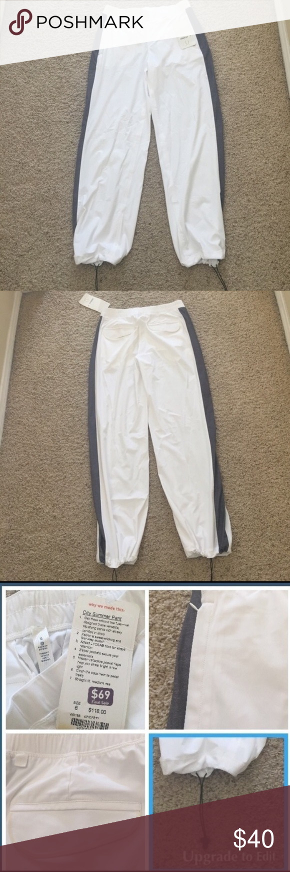 "Lululemon ""City Summer Pants"". NWT Never wore. Nice Lightweight pants with zipper front pockets and two back pockets. Ties at the bottom to loosen or gather. Inseam 29"". Size 6 lululemon athletica Pants"