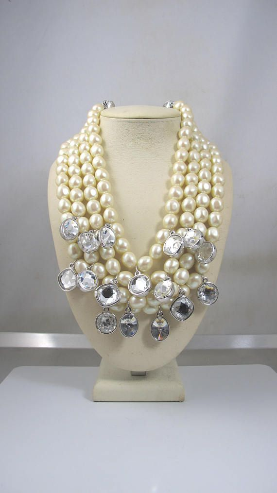 63450c53a6a Yves Saint Laurent Necklace. YSL Multi Strand Baroque Pearl Crystal ...