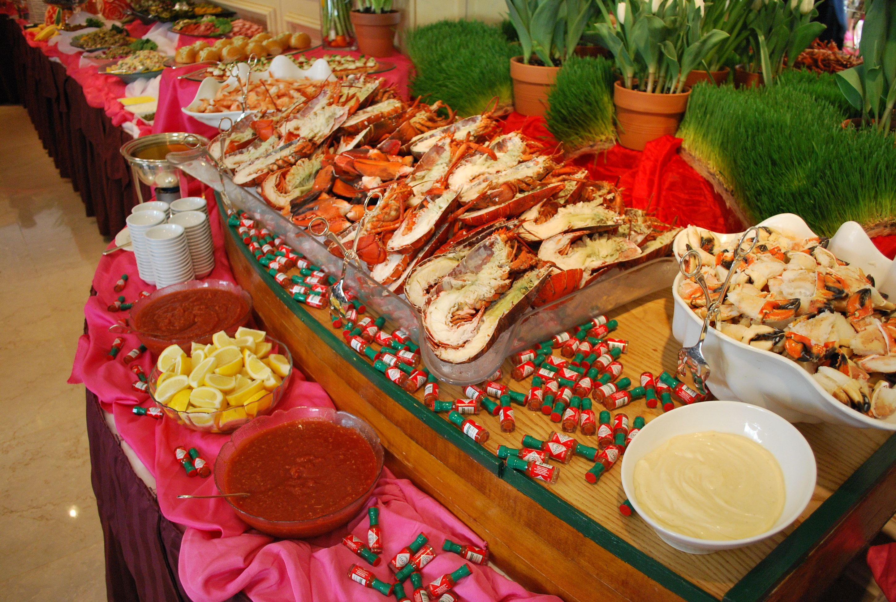 Seafood station at The Garden City Hotel Sunday brunch