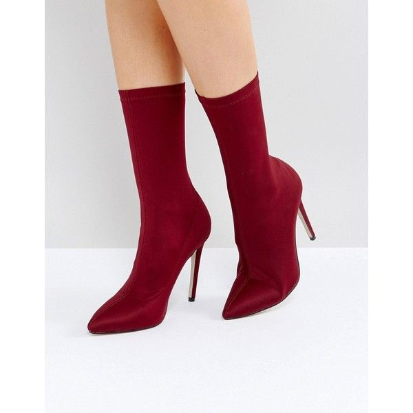 RAID Tegan Burgundy Stretch Sock Boots (€54) ❤ liked on Polyvore featuring  shoes, boots, ankle booties, red, pointed-toe flats, pointy-toe boots, ...