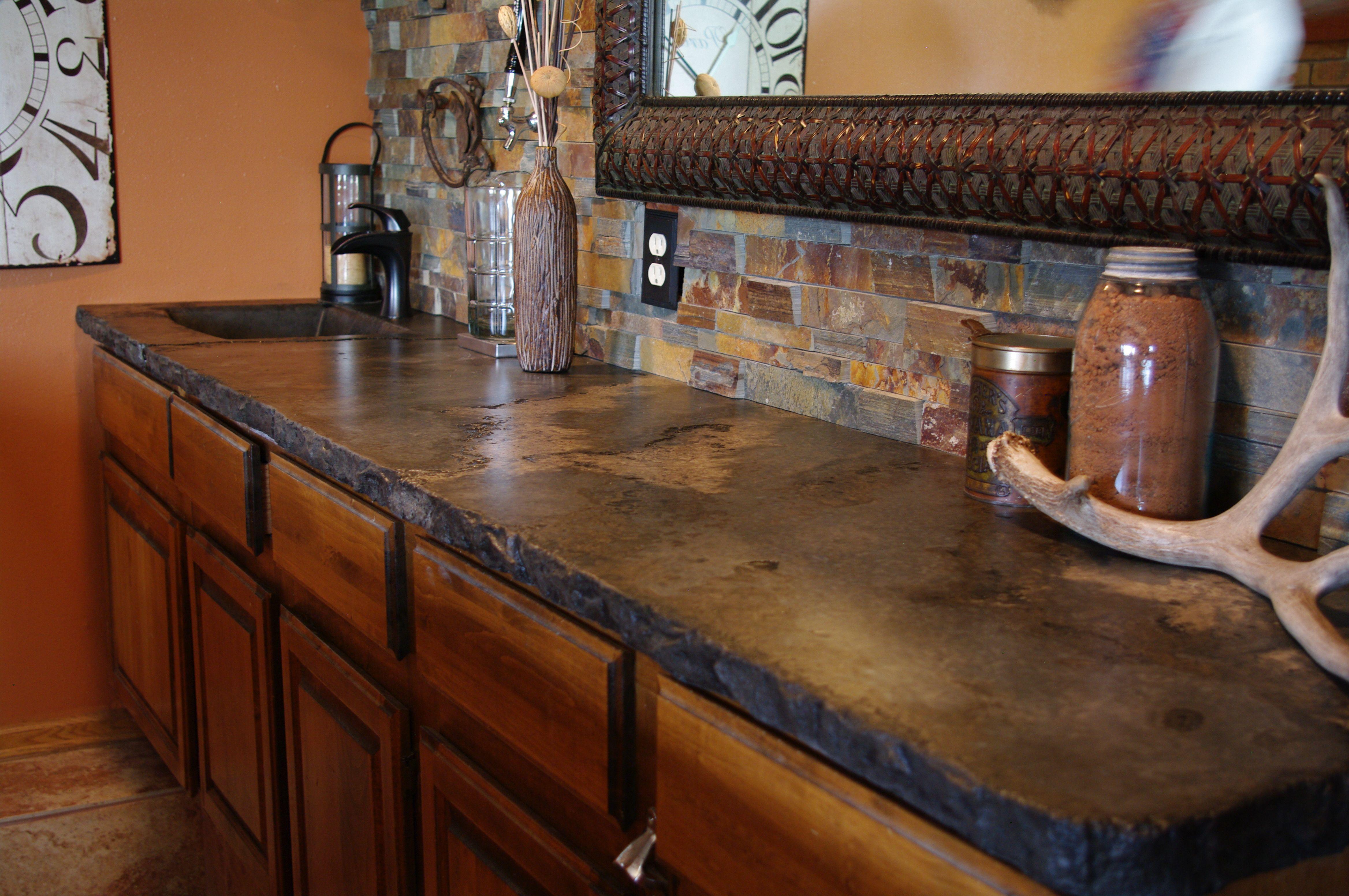 Good Dark Cabin Concrete Bar Top With Integral Sink