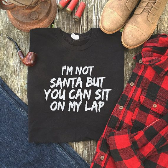 I/'m Not Santa But You Can Sit On My Lap Mens Funny Christmas T-Shirt Jumper Gift