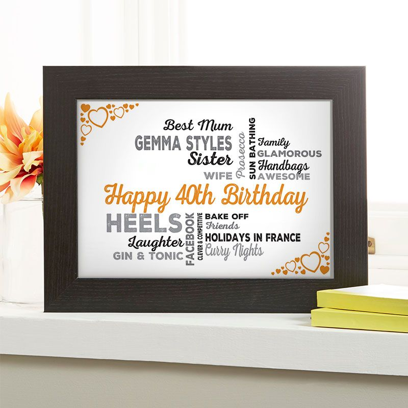 40th Birthday Gift For Her Of Typographic Art
