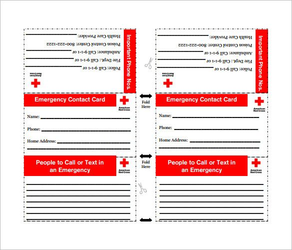 Emergency Contact Card Template Popular Samples Templates Contact Card Contact Card Template Free Printable Card Templates