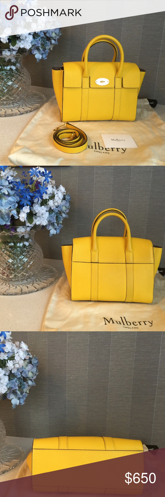 Mulberry Small Bayswater in Canary New style small Bayswater that can be carried by hand, worn over the shoulder or crossbody. It has the following:   One main compartment One internal zip pocket One internal slip pocket Suede lining Detachable strap Height 8¾  Width 13¾ at widest part Depth 4¾  Handle drop 3½  Condition: I wore this only a few times. Bag is in great condition. Mulberry Bags Shoulder Bags #mulberrybag