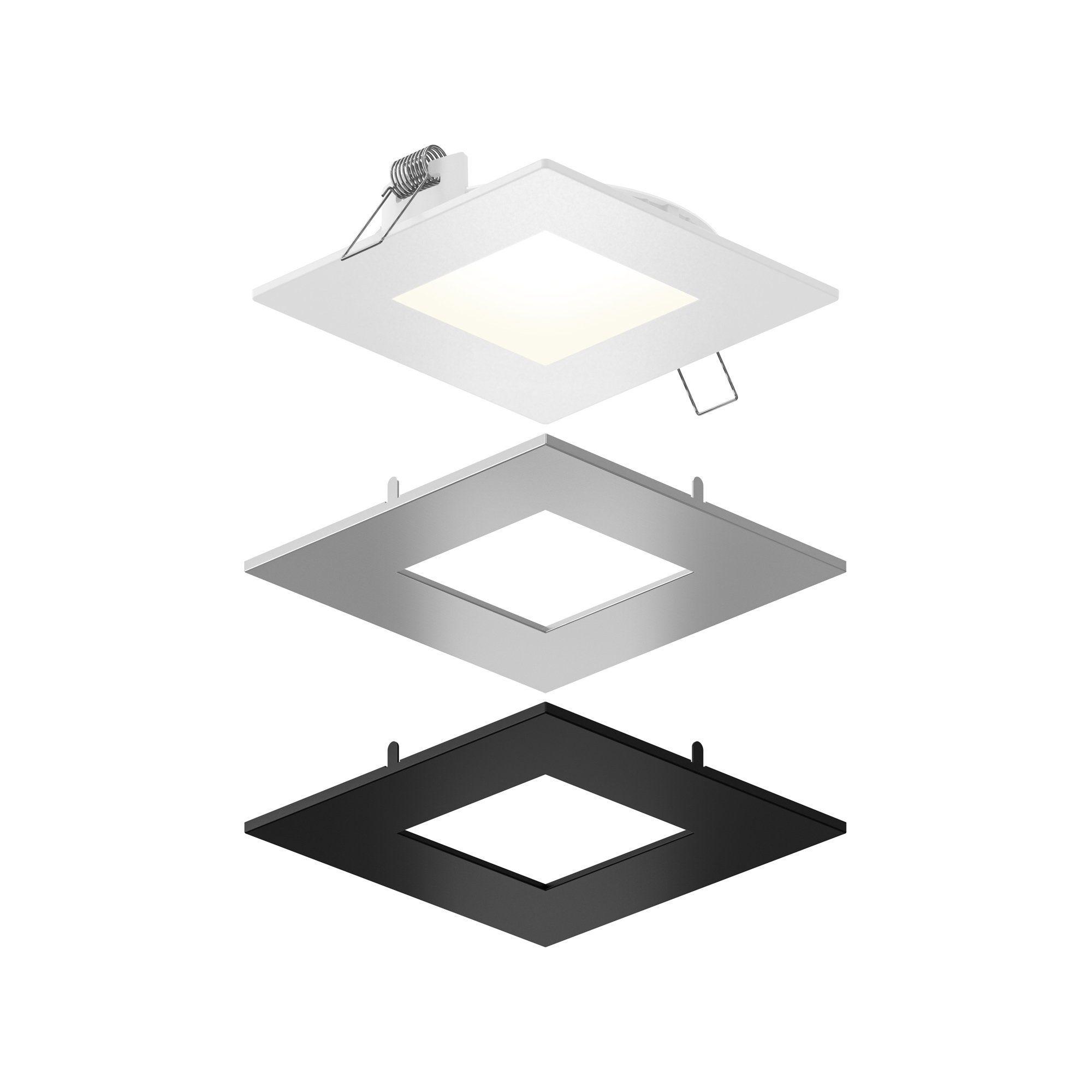 4 Square Led Panel Light 11w 750lm Wet Location 3cct 50 000 Hours White Sn Black Al Led Panel Light Recessed Lighting Kits Recessed Lighting