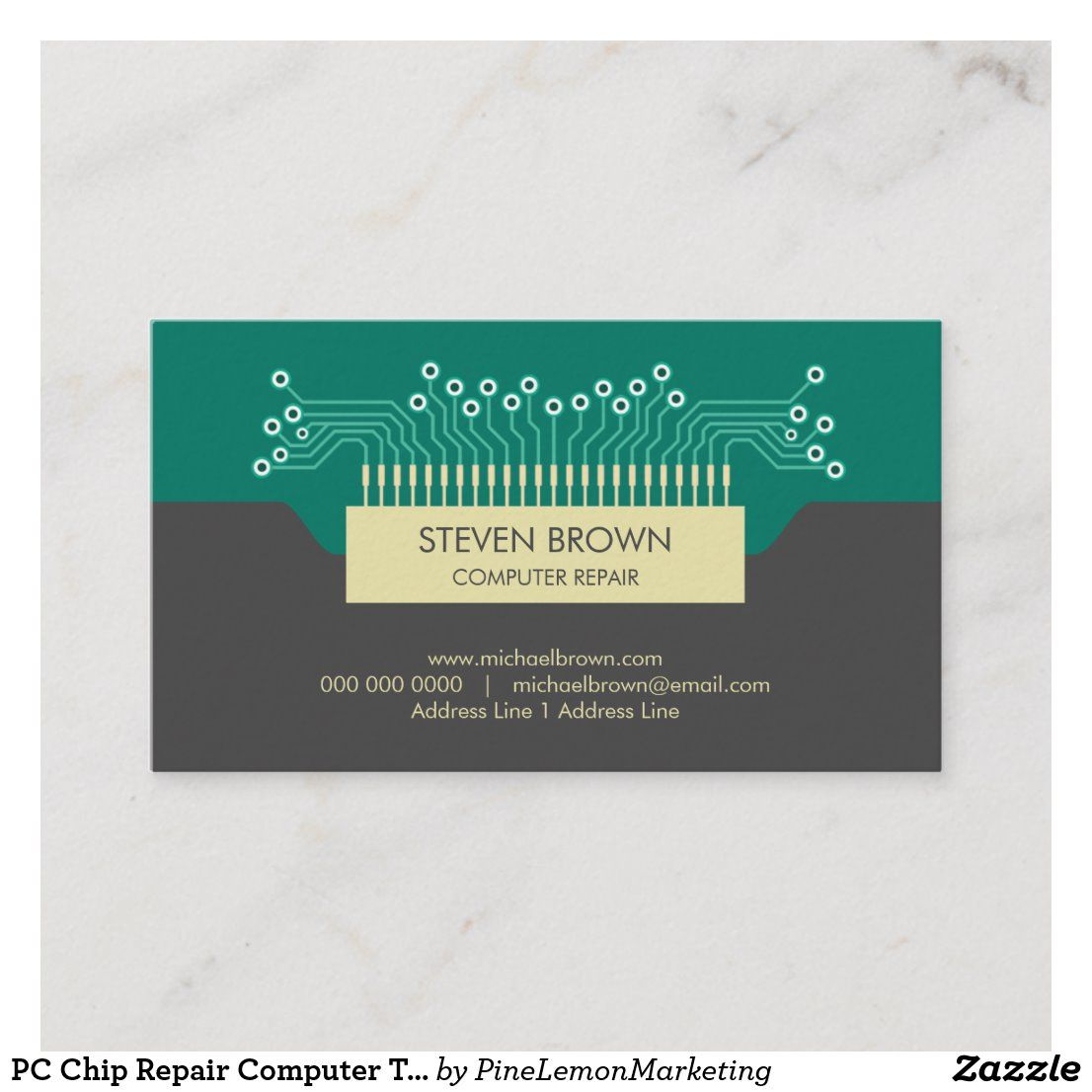 Pc Chip Repair Computer Technician Business Card Zazzle Com Repair Technician Computer Repair