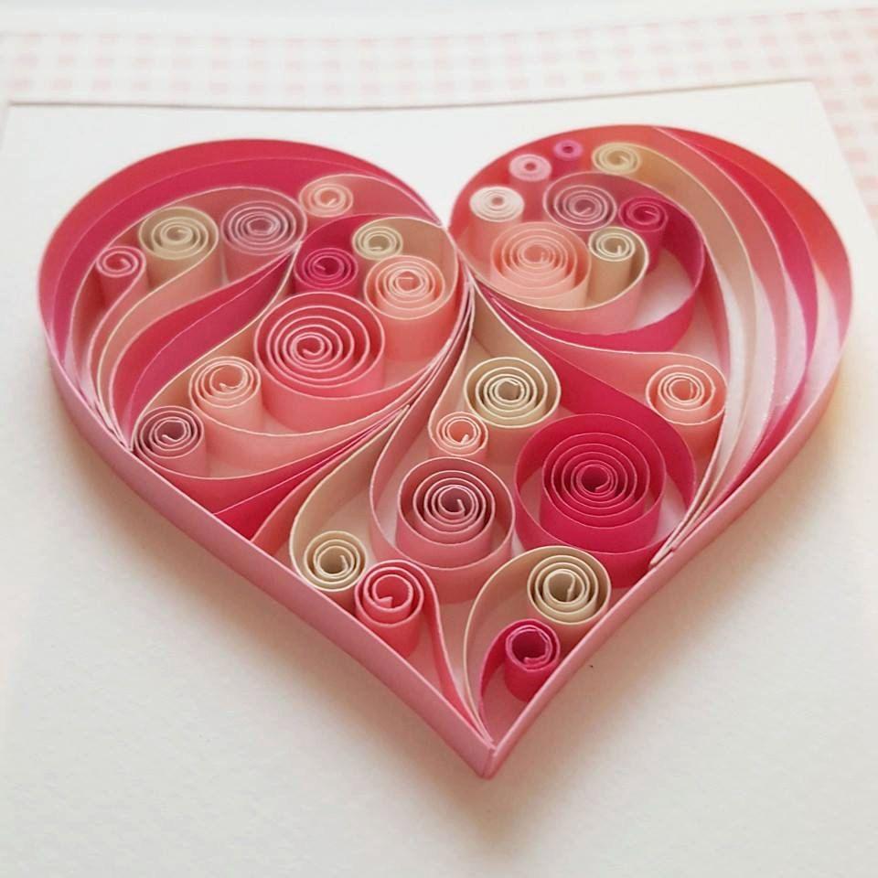 Квиллинг открытки сердечко, открытка днем