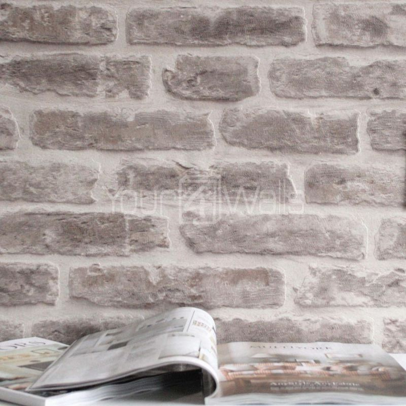 Brick Effect Wallpaper Bedroom Taupe And Blue Bedroom Single Bed Bedroom Designs Bedroom Ideas Cozy: 2 OFF'Brick House' Wallpaper Stone Brick Effect Wallpaper