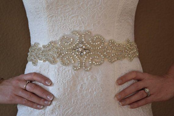 Beautiful Large Crystal Rhinestone Wedding Belt