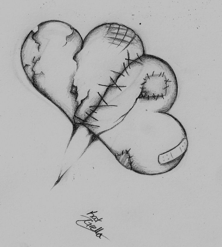 Картинки разбитого сердца для срисовки, сделать