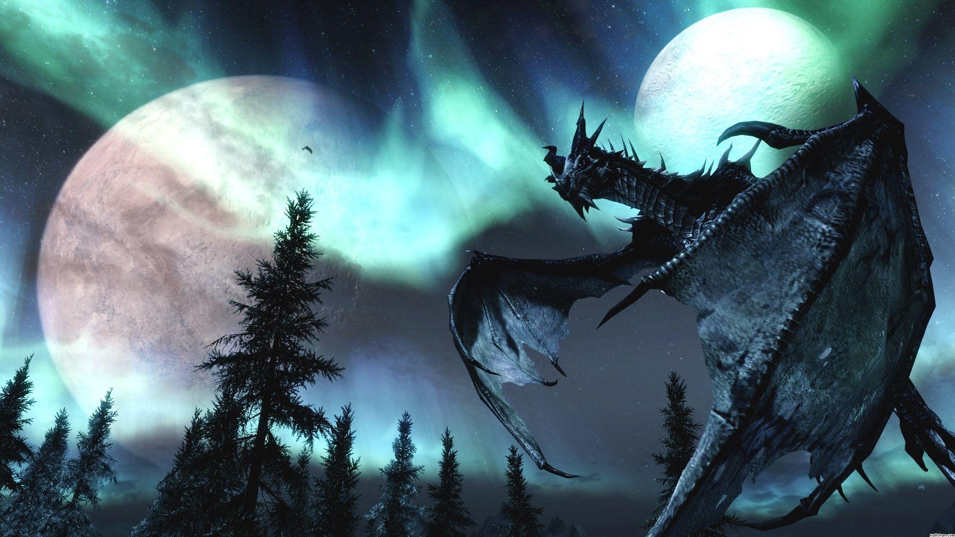 Skyrim httpvideogamedirectorysskyrim the elder scroll nature dragons screenshots fantasy art moons the elder scrolls v skyrim wallpaper space moons hd desktop wallpaper voltagebd Choice Image