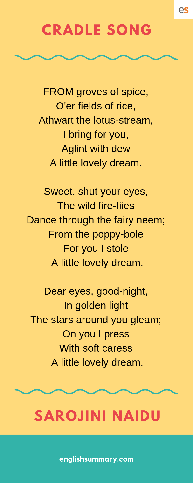 Cradle Song By Sarojini Naidu Good Night Love Quote Quotes The Sun Rising Poem Theme